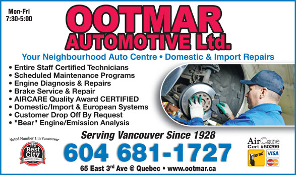 Ootmar Automotive Ltd (604-681-1727) - Display Ad -
