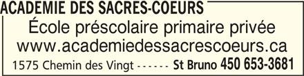 Académie des Sacrés-Coeurs (450-653-3681) - Annonce illustrée======= -