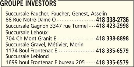 Groupe Investors (418-338-2736) - Annonce illustrée======= - GROUPE INVESTORS Succursale Faucher, Faucher, Genest, Asselin 88 Rue Notre-Dame O ---------------- 418 338-2736 418 423-2998 Succursale Gagnon 3347 rue Turmel --- Succursale Lehoux 704 Ch Mont Granit E --------------- 418 338-8898 418 335-6579 Succursale Gravel, Métivier, Morin 1174 Boul Frontenac E --------------- 418 335-6579 Succursale Leblond 1699 boul Frontenac E bureau 205 ----