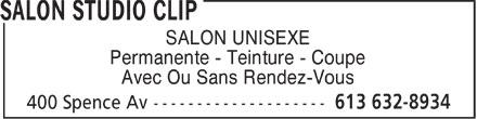 Salon Studio Clip (613-632-8934) - Annonce illustrée======= - SALON UNISEXE Permanente - Teinture - Coupe Avec Ou Sans Rendez-Vous