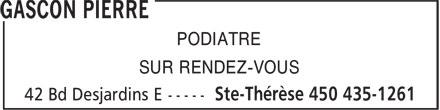 Gascon Pierre (450-435-1261) - Annonce illustrée======= - PODIATRE - SUR RENDEZ-VOUS