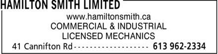 Hamilton Smith Limited (613-962-2334) - Display Ad