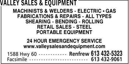 Valley Sales & Equipment (613-432-5323) - Annonce illustrée