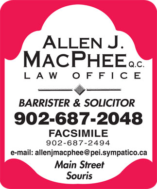 MacPhee Allen J QC (902-687-2048) - Display Ad - 902-687-2048 902-687-2494 902-687-2048 902-687-2494
