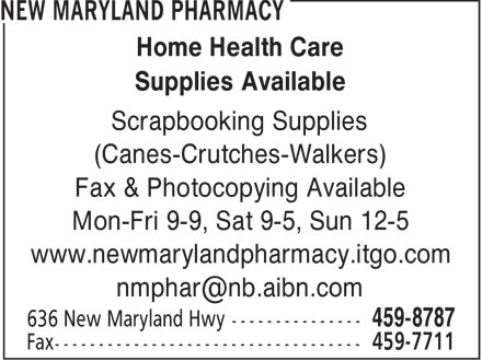 New Maryland Pharmacy (506-459-8787) - Display Ad