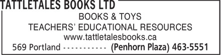 Tattletales Books Ltd (902-463-5551) - Annonce illustrée - BOOKS & TOYS TEACHERS' EDUCATIONAL RESOURCES www.tattletalesbooks.ca