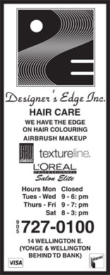 Designer's Edge Inc (905-727-0100) - Annonce illustrée - AIRBRUSH MAKEUP Closed 9 0 5