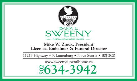 Sweeny Dana L Funeral Home (1988) Ltd (902-634-3942) - Display Ad