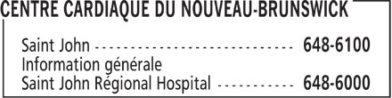 Centre Cardiaque Du Nouveau-Brunswick (506-648-6100) - Display Ad