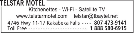 Telstar Motel (807-473-9141) - Display Ad