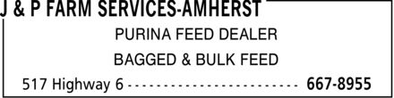 J & P Farm Services-Amherst (902-667-8955) - Display Ad - PURINA FEED DEALER BAGGED & BULK FEED PURINA FEED DEALER BAGGED & BULK FEED