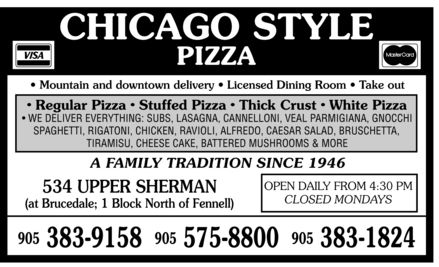 Chicago Style Pizza Shack (905-575-8800) - Annonce illustrée