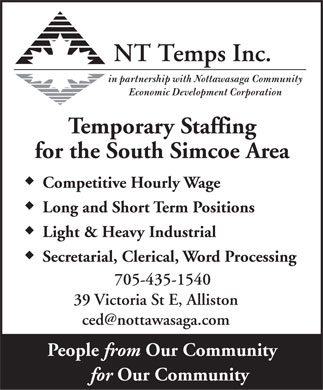 NT Temps Inc (705-435-1540) - Display Ad