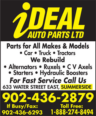Ideal Auto Parts (902-436-2879) - Display Ad - 902-436-2879 902-436-6293 902-436-2879 902-436-6293