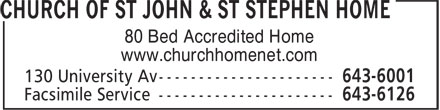 Church of St John & St Stephen Home (506-643-6001) - Display Ad - 80 Bed Accredited Home www.churchhomenet.com  80 Bed Accredited Home www.churchhomenet.com
