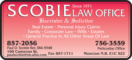 Scobie Law Office (506-857-2056) - Annonce illustrée