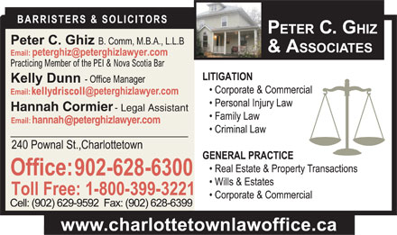 Ghiz Peter C (902-628-6300) - Display Ad - Hannah Cormier - Legal Assistant Hannah Cormier - Legal Assistant