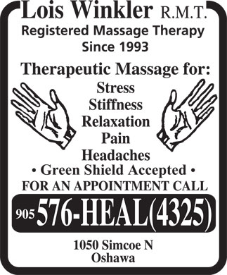 Winkler Lois Registered Massage Therapist (905-576-4325) - Display Ad - Green Shield Accepted  Green Shield Accepted Green Shield Accepted