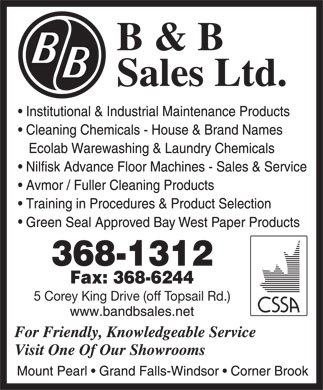 B & B Sales Ltd (709-368-1312) - Annonce illustrée - 5 Corey King Drive (off Topsail Rd.)  5 Corey King Drive (off Topsail Rd.)