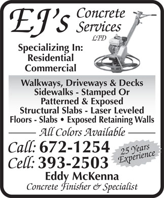 EJ's Concrete Services Ltd (902-393-2503) - Display Ad