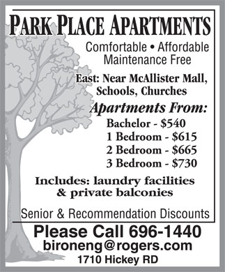 Park Place Apartments (506-696-1440) - Annonce illustr&eacute;e