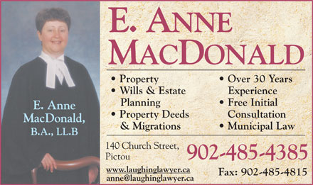 Roddam & MacDonald (1-866-255-4976) - Annonce illustrée - Property Over 30 Years Wills & Estate Experience Planning Free Initial Property Deeds Consultation & Migrations Municipal Law 902-485-4385 Fax: 902-485-4815