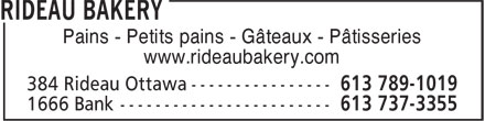 Rideau Bakery (613-789-1019) - Annonce illustrée - WEDDING CAKES Quality Breads-Rolls-Cakes-Pastries Rye Bread A Specialty Retail And Wholesale Party Platters For All Occasions www.rideaubakery.com