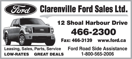 Clarenville Ford Sales Ltd (709-466-2300) - Display Ad - 12 Shoal Harbour Drive