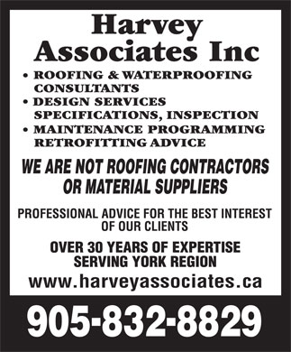 Harvey Associates Inc (905-832-8829) - Annonce illustrée - www.harveyassociates.ca  www.harveyassociates.ca