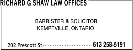 Shaw Richard G (613-258-5191) - Annonce illustrée======= - RICHARD G SHAW LAW OFFICES - BARRISTER
