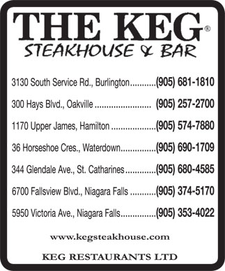 Keg Restaurants Ltd (905-681-1810) - Display Ad