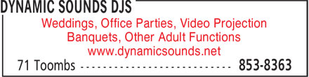 Dynamic Sounds DJs (506-853-8363) - Annonce illustrée - Weddings, Office Parties, Video Projection Banquets, Other Adult Functions www.dynamicsounds.net