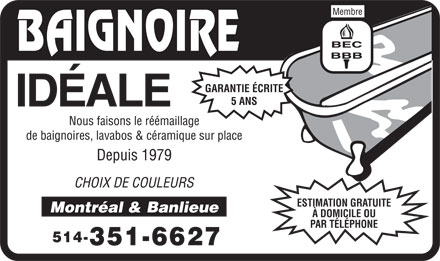 Baignoire Id&eacute;ale (514-351-6627) - Display Ad