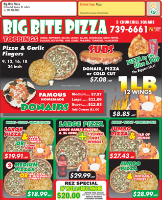 Big Bite Pizza (709-739-6661) - Menu