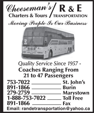 R & E Transportation (709-753-7022) - Display Ad