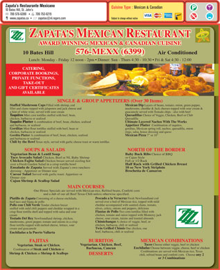 Zapata's Mexican Restaurant (709-576-6399) - Menu