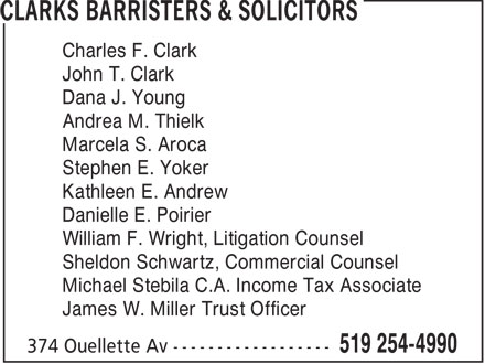 Clarks Barristers & Solicitors (519-254-4990) - Display Ad