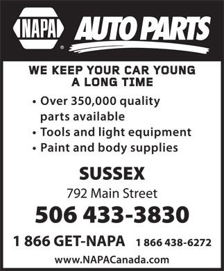 NAPA Auto Parts (506-433-3830) - Display Ad