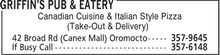 Griffin's Pub & Eatery (506-357-9645) - Display Ad - Canadian Cuisine & Italian Style Pizza (Take-Out & Delivery)