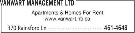 VanWart Management Ltd (506-461-4648) - Annonce illustrée - Apartments & Homes For Rent www.vanwart.nb.ca