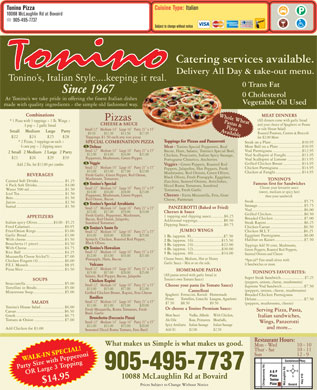Tonino's Pizzeria &amp; Pannini (905-495-7737) - Menu