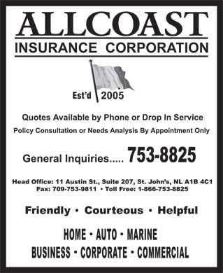 Allcoast Insurance Corporation (709-753-8825) - Display Ad - Est d  Est d