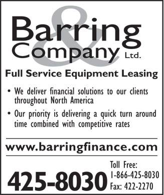 Barring & Co Ltd (902-425-8030) - Annonce illustrée