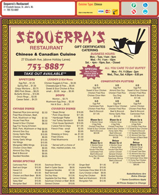 Sequerra's Restaurant (709-753-8887) - Menu