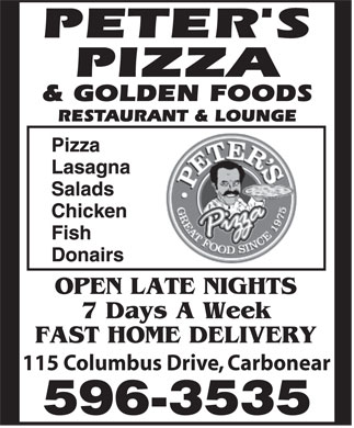 Peter's Pizza & Golden Foods (709-596-3535) - Annonce illustrée - 115 Columbus Drive, Carbonear