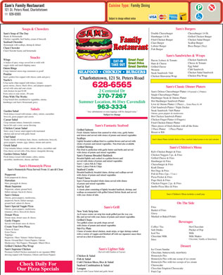 Sam's Family Restaurant (902-628-6565) - Menu