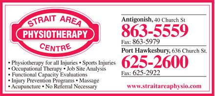 Strait Area Physiotherapy (902-625-2600) - Annonce illustrée - 40 Church St www.straitareaphysio.com  40 Church St www.straitareaphysio.com
