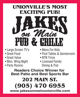 Jake's On Main (905-470-6955) - Annonce illustrée