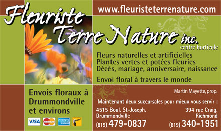 Terre Nature Inc (819-479-0837) - Annonce illustr&eacute;e
