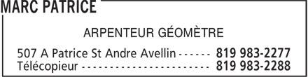 Marc Patrice Arpenteur Géomètre (819-983-2277) - Annonce illustrée======= - ARPENTEUR GÉOMÈTRE